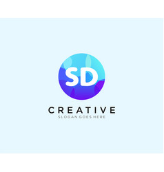 Sd initial logo with colorful circle template vector