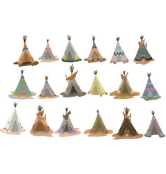 Set native american tipis with traditional vector