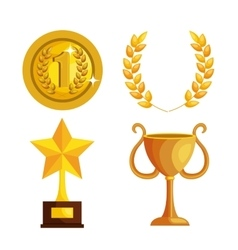 Set trophies competition awards vector