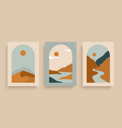 simply posters with with rivers desert sun and vector image