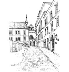 sketch old european city vector image