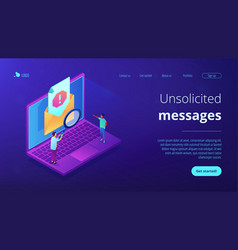 Spam isometric 3d landing page vector