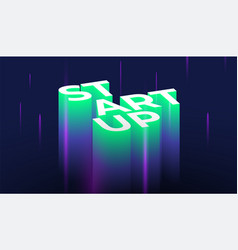 startup 3d lettering vector image