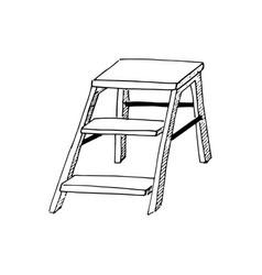 Stepladder sketch hand drawn stair step ladder vector