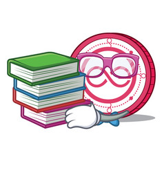 Student with book aeternity coin mascot cartoon vector