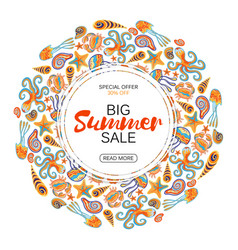 summer sale round frame marine life vector image