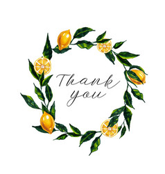 Thank you card with watercolor lemon wreath vector