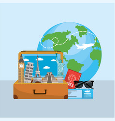 travel briefcase with journey things and vector image