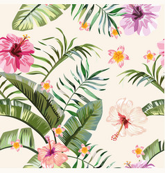tropical vivid flowers leaves seamless background vector image