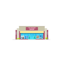 Uniform shop work clothing store building isolated vector