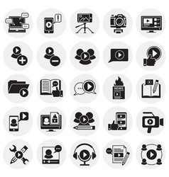 Video blog icons set on circles background for vector