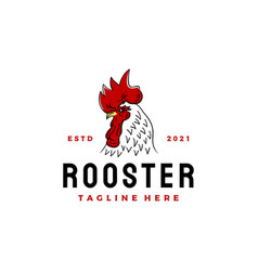 vintage rooster head logo design icon vector image