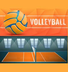 Volleyball banner set cartoon style vector