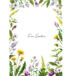 watercolor hand painted card with field vector image