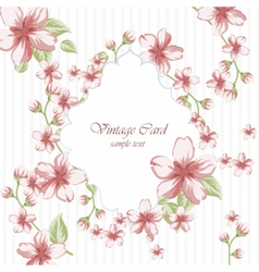 Watercolor pink Flowers frame on retro polka dots vector image