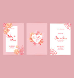 wedding invitation card set with peony flowers vector image