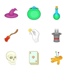 Witchcraft icons set cartoon style vector