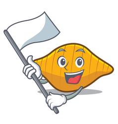 With flag conchiglie pasta mascot cartoon vector