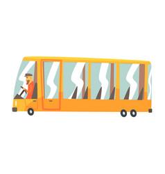 Yellow cartoon bus public transport vector