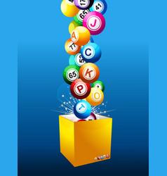 bingo jackpot balls on a box over blue background vector image vector image
