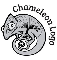 black and white chameleon logo template vector image