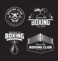 boxing club labels set vintage vector image