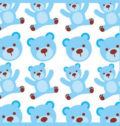 cartoon blue bear boy baby shower seamless pattern vector image