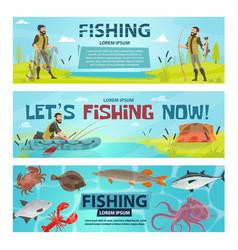 Fisherman sport fishing banners vector