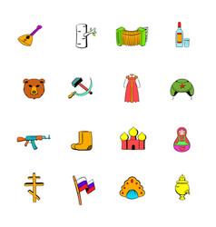 russia set icons set cartoon vector image