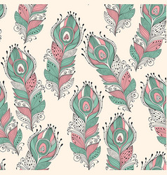 seamless pattern with feathers vector image vector image
