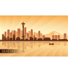Seattle city skyline silhouette background vector