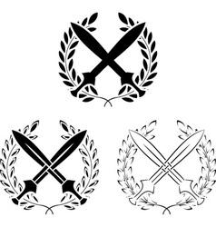 set of crossed swords with laurel wreaths vector image vector image