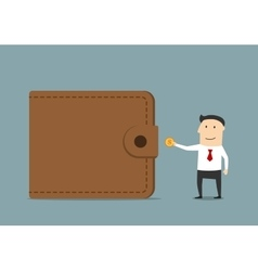 Businessman putting golden coin to wallet vector image vector image