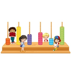 Children and math game vector image