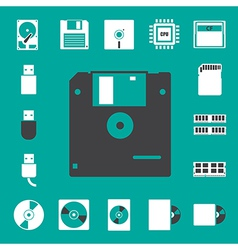 Computer and storage icons set eps 10 vector image vector image