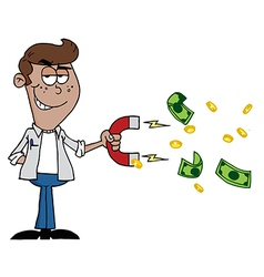 Man Collecting Cash With A Money Magnet vector image vector image