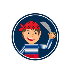 pirate with knife icon in circle vector image vector image