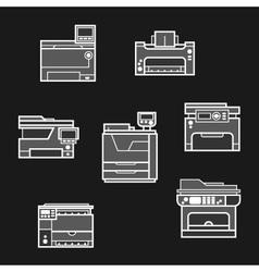 Printer icons on dark background vector image