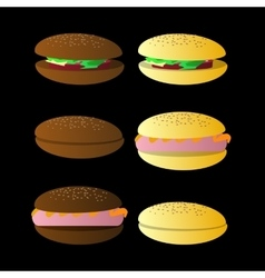 bun sandwich On a black background vector image vector image