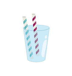 empty glass with straws vector image