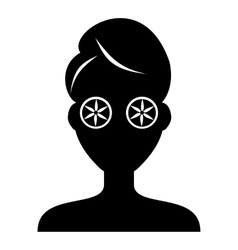 Face of girl on Spa icon simple style vector image
