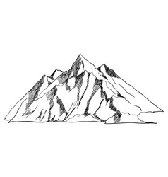 line art or sketch of a mountain vector image