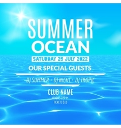 Ocean water party Tropical summer vacation poster vector image