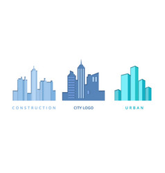 paper cut out logo set with city buildings vector image vector image