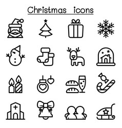 christmas icon set in thin line style vector image