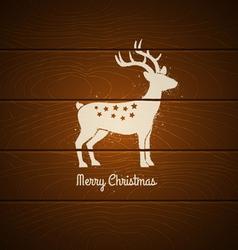 deer on wooden background vector image