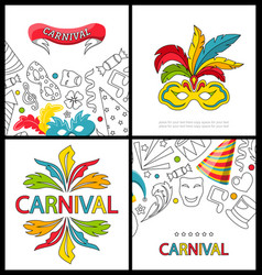 set celebration festive banners for happy carnival vector image