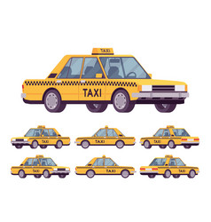 yellow taxi car vector image