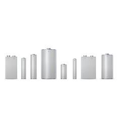 3d metallic electric cylinder batteries aa aaa vector
