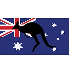 Australian flag and kangaroo vector image